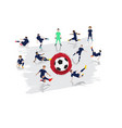 soccer player team with japan flag background vector image vector image