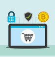 tablet computer online shopping payment bitcoin vector image