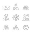team work line icons on white background vector image vector image