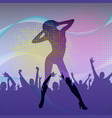 the dancing girl silhouette in nightclub with vector image vector image