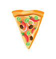 triangle pizza slice with red pepper olives vector image