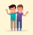 two boys hugged and waved hands best friends vector image