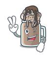 two finger milkshake character cartoon style vector image vector image
