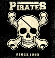 Vintage pirate skull mascot vector image