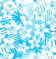 White tropical frangipani with palms seamless vector image vector image