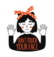 with young woman in red headband dont touch your vector image vector image