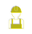 worker sign yellow icon with square vector image vector image