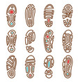 footprints icons of boot shoe sole track vector image