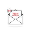 thin line 90 years anniversary logo like black vector image