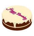 birthday cake icon isometric 3d style vector image