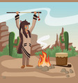 american indian with spear vector image