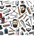barbershop shave and man haircut seamless pattern vector image vector image