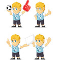 Blonde Rich Boy Customizable Mascot 3 vector image vector image