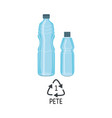 blue plastic bottle for pure drink icon vector image