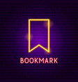 bookmark neon label vector image vector image