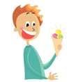 Boy eating an ice cream vector image vector image