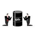 businessman praying for oil prayer barrel of vector image vector image