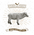 butcher shop vintage emblem lamb meat products vector image