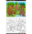 cartoon animal characters group coloring book page vector image vector image