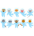 cartoon cute animals pig mouse and cat vector image