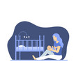 cartoon depressed woman with newborn concept vector image vector image