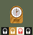 clock icon flat wood analog vector image vector image