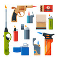 collection cigarette and kitchen lighters vector image