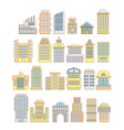 Collection of buildings houses and architectural vector image