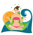 conceptual of a girl in lotus position sitting vector image