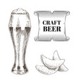 craft beer and fried chips set vector image vector image