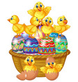 cute chicks standing on decorated egg vector image vector image
