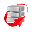 database icon with update symbol presented as red vector image