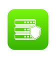 database with gray shield icon digital green vector image vector image