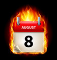 eighth august in calendar burning icon on black vector image vector image