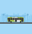 flat green bus with bus stop in urban scene vector image vector image