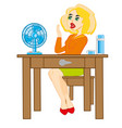 girl at the table vector image vector image