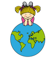 Girl with a globe vector image vector image