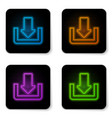 glowing neon download icon isolated on white vector image vector image