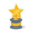 golden trophy cup of star shape vector image vector image
