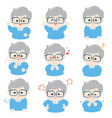 grandfather with different emotions cartoon vector image vector image