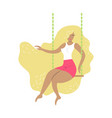 hand-drawn blonde girl on the swing vector image vector image