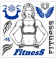 Healthy Fitness Girl and design elements vector image vector image