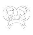 isolated newlywed couple banner vector image