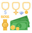 jewelry icons gold gemstones precious vector image vector image