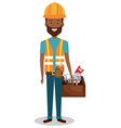 male builder avatar character vector image vector image