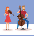 man playing cello and woman playing violin vector image vector image
