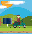 man recharging electric scooter with solar panel vector image vector image