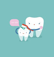 mom is brushing body of baby tooth dental cept vector image