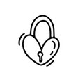 monoline cute lock in form heart vector image vector image
