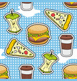 pop art seamless pattern with fast food vector image vector image